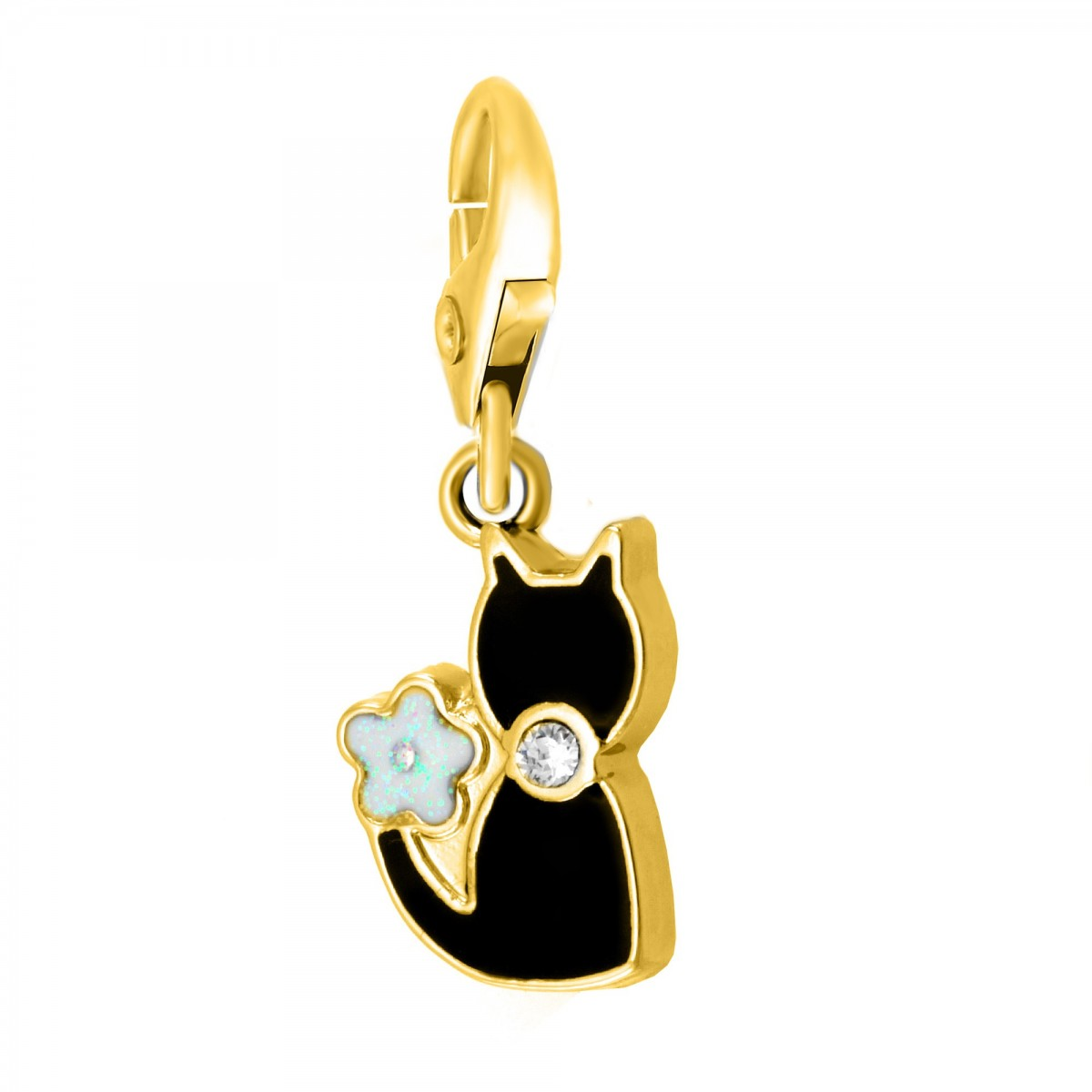 Charm chat noir So Charm made with crystal from Swarovski