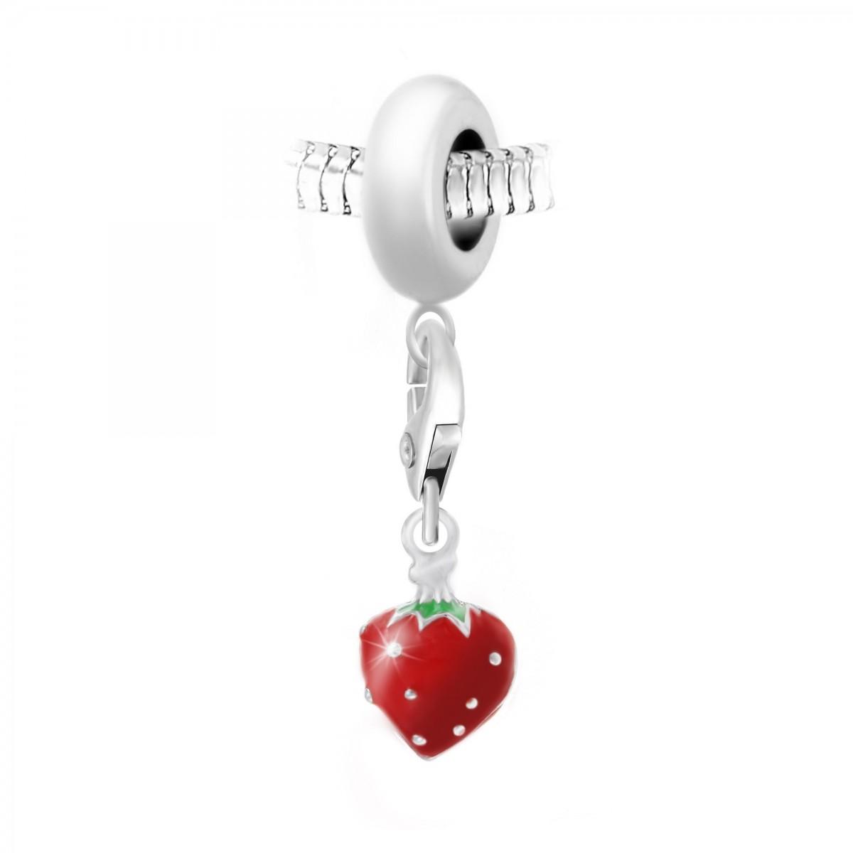 Charm perle So Charm en acier avec pendentif fraise