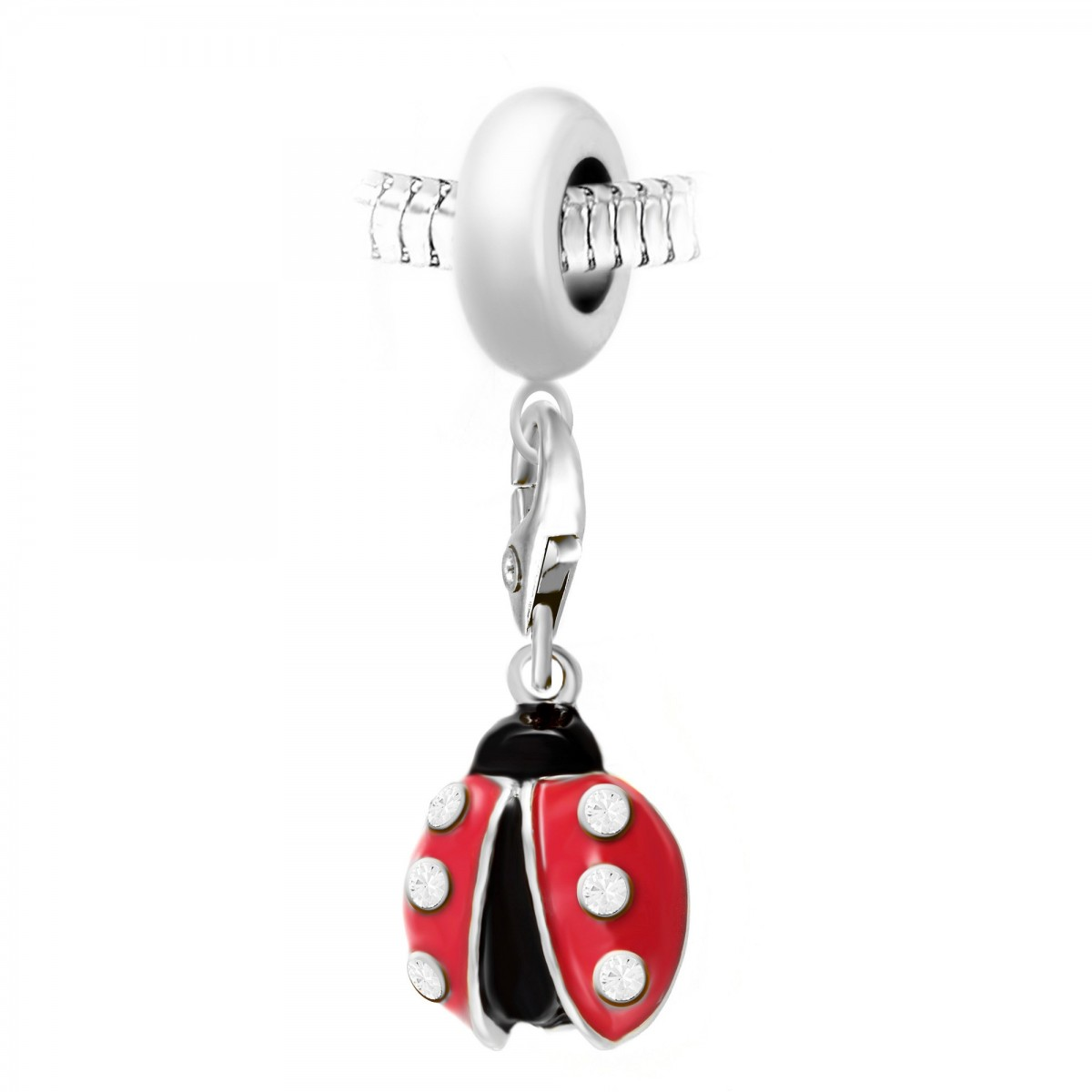 Charm perle So Charm en acier avec pendentif coccinelle made with Crystal from Swarovski