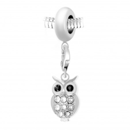 Charm perle So Charm en acier avec pendentif hibou made with crystal from Swarovski