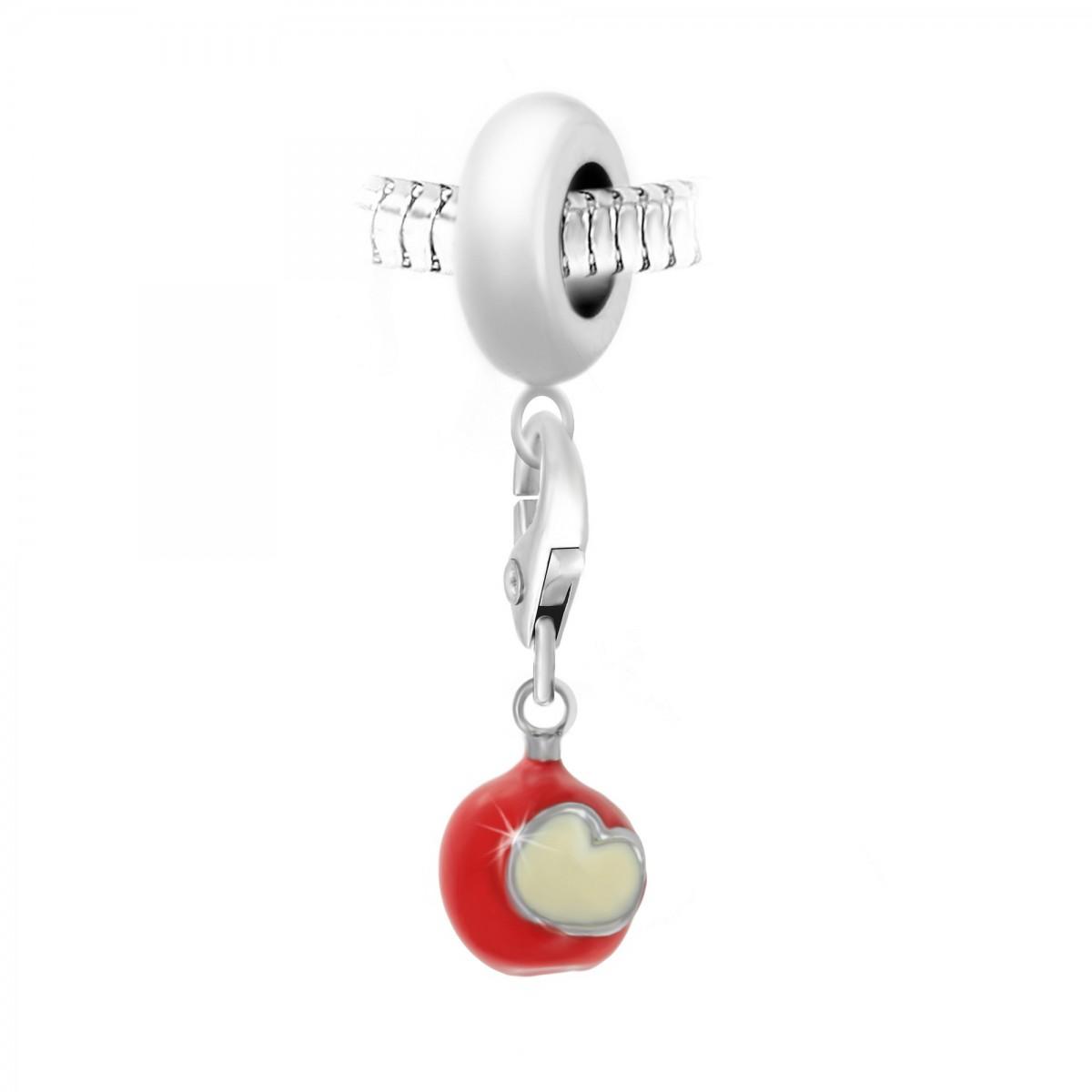Charm perle So Charm en acier avec pendentif pomme d'amour