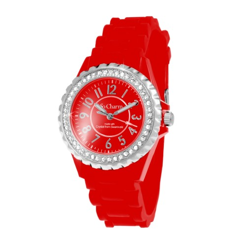Montre femme bracelet silicone rouge So Charm made with crystal from Swarovski Elements