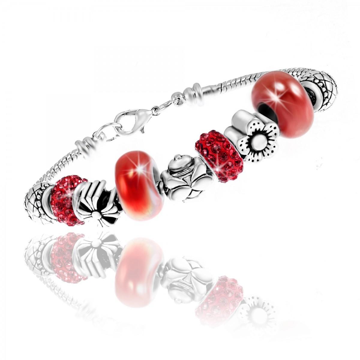 Bracelet mode charm perles ornés de cristaux Swarovski