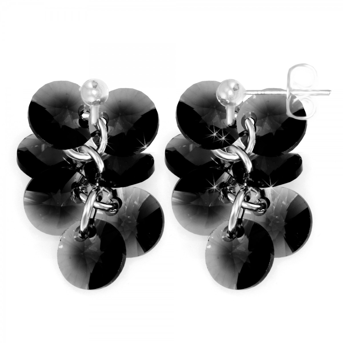 Boucles d'oreilles mode So Charm made with crystal from Swarovski noir