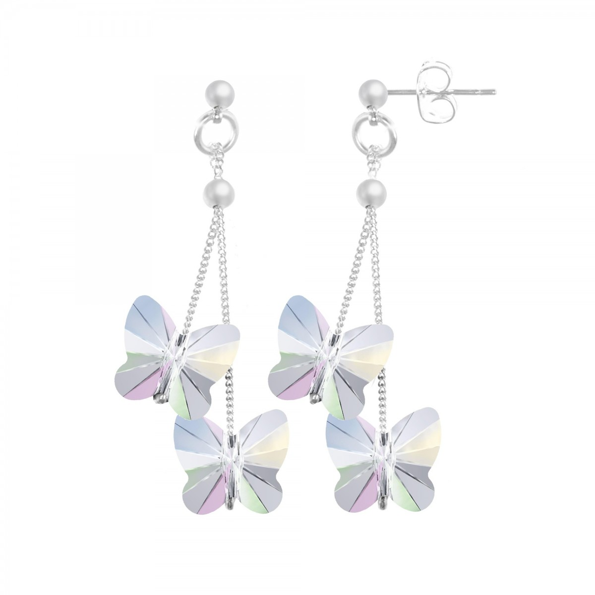 Boucles d'oreilles So Charm ornées de papillons made with crystal from Swarovski