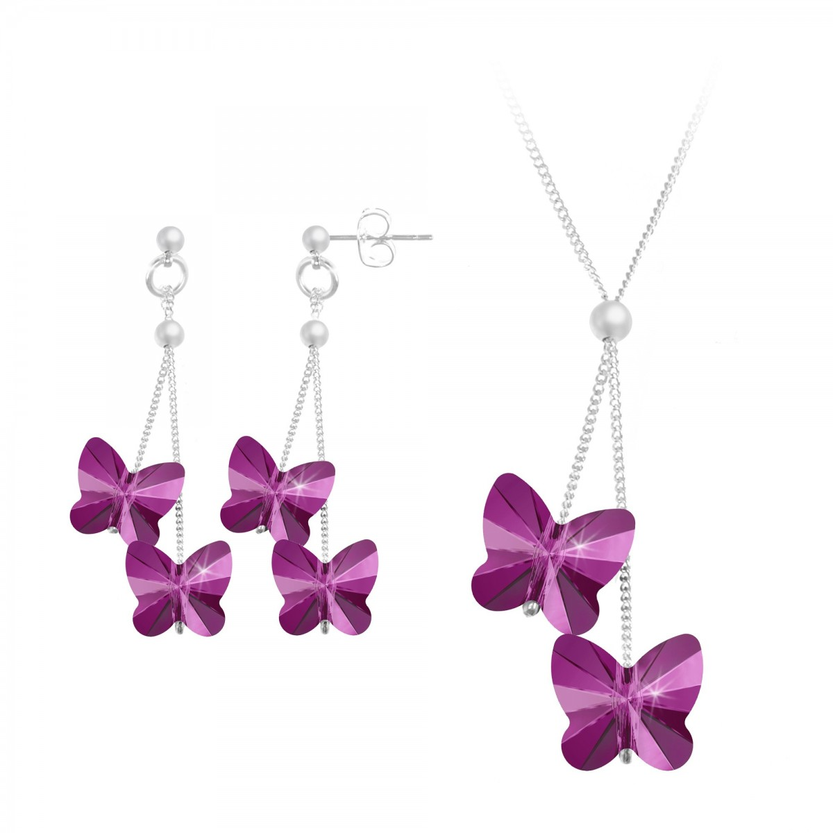 Parure collier et boucles d'oreilles papillons roses So Charm made with Crystal from Swarovski