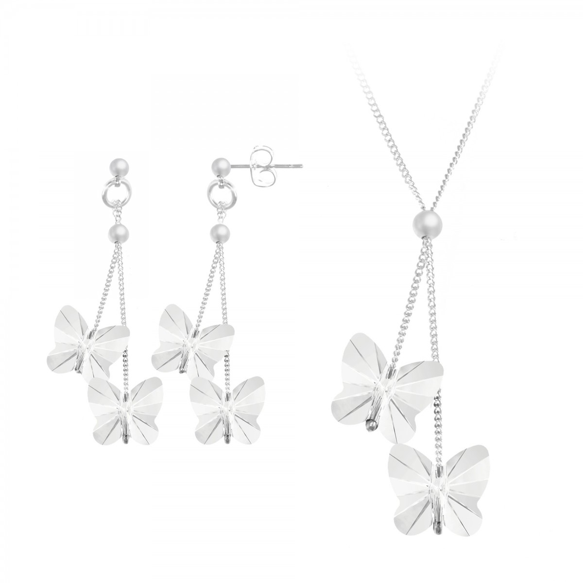 Parure collier et boucles d'oreilles papillons So Charm made with Crystal from Swarovski