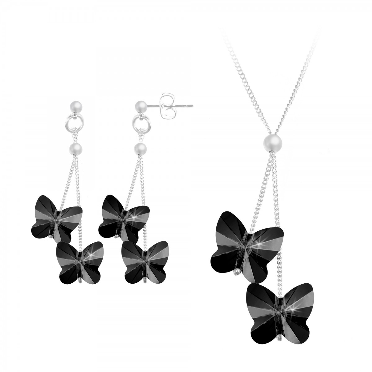 Parure collier et boucles d'oreilles papillons silver night So Charm made with Crystal from Swarovski
