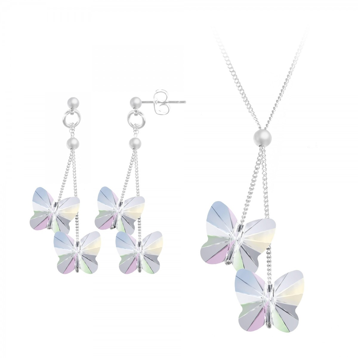 Parure collier et boucles d'oreilles papillons irisés So Charm made with Crystal from Swarovski