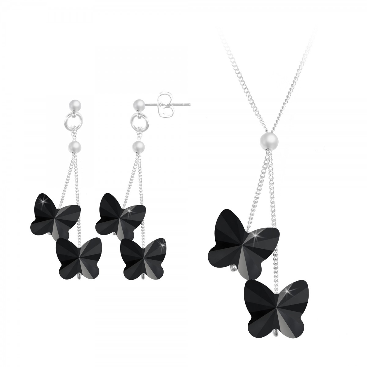 Parure collier et boucles d'oreilles papillons noirs So Charm made with Crystal from Swarovski