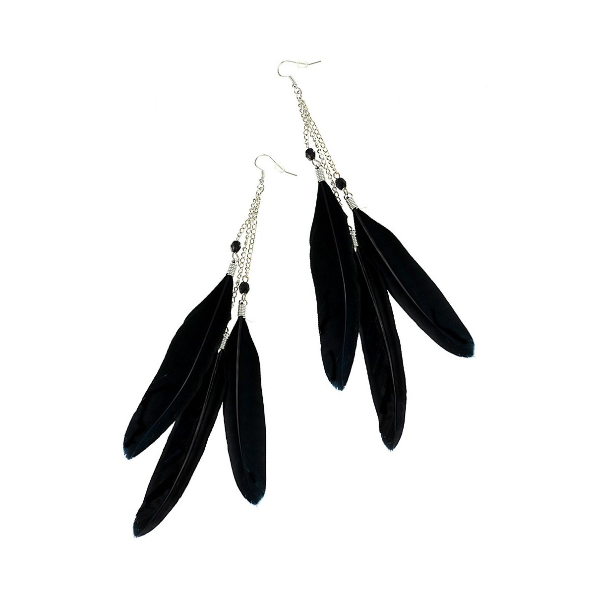 Boucles d'oreilles plumes noires