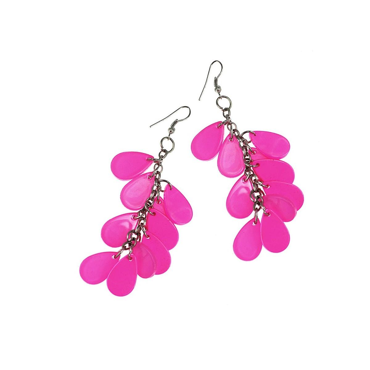 Boucles d'oreilles gouttes d'eau rose