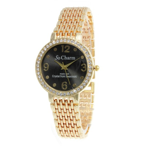 Montre dorée So Charm made with 46 crystals from Swarovski