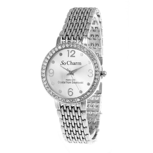 Montre argentée So Charm made with 46 crystals from Swarovski