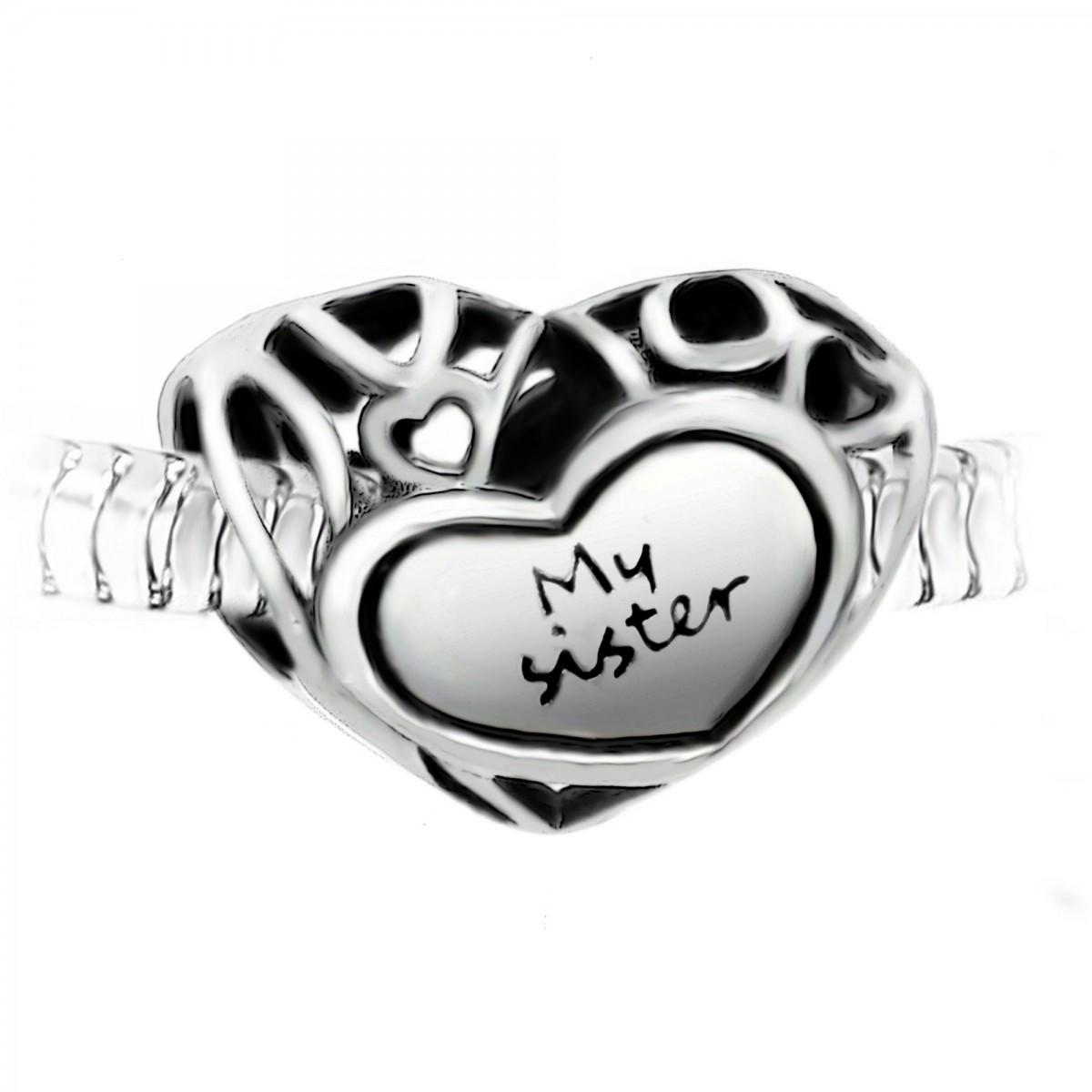 """BEA0180 Charm perle """"My sister"""" acier par So Charm"""