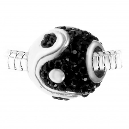 Charm perle yin yang orné de cristaux de Bohème et acier par So Charm