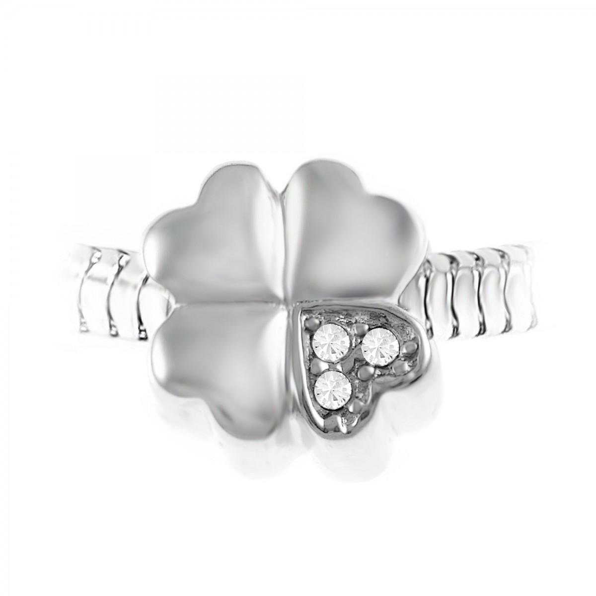 Charm perle trèfle orné de cristaux de Bohème et acier par So Charm