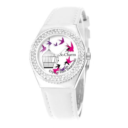 Montre mouvement tournant en forme d'oiseaux ornée de 87 cristaux Swarovski par So Charm®