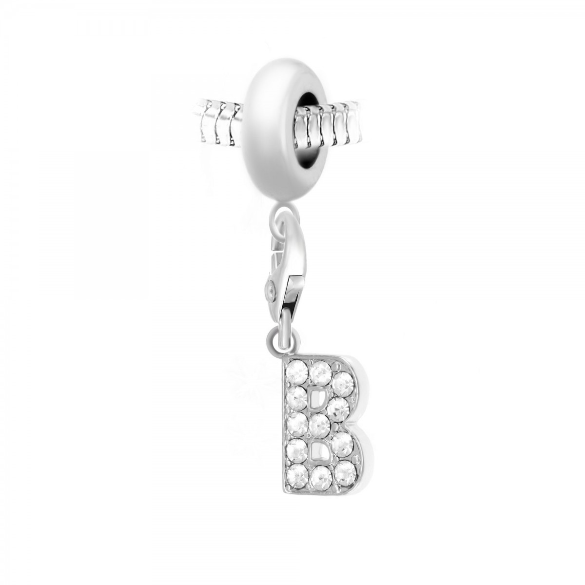 Charm perle So Charm en acier avec pendentif lettre B made with crystal from Swarovski