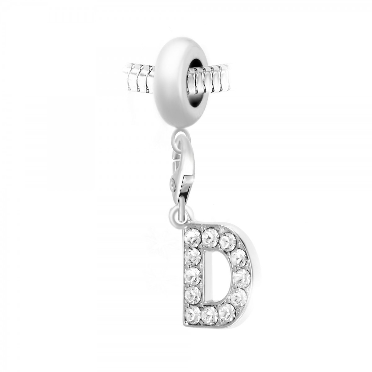 Charm perle So Charm en acier avec pendentif lettre D made with crystal from Swarovski