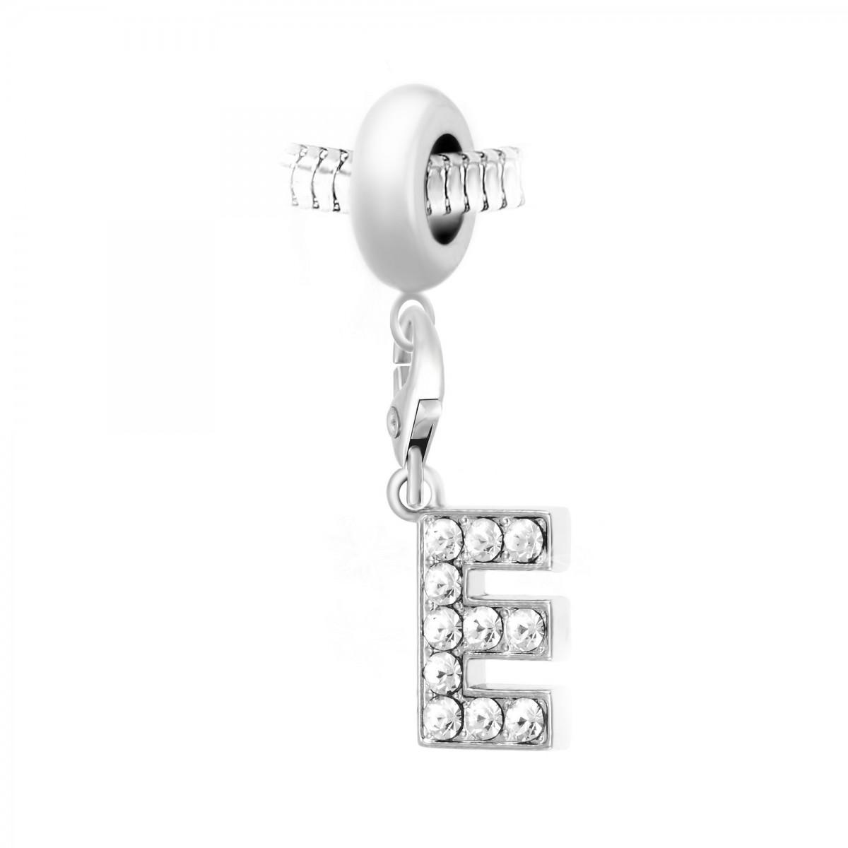 Charm perle So Charm en acier avec pendentif lettre E made with crystal from Swarovski