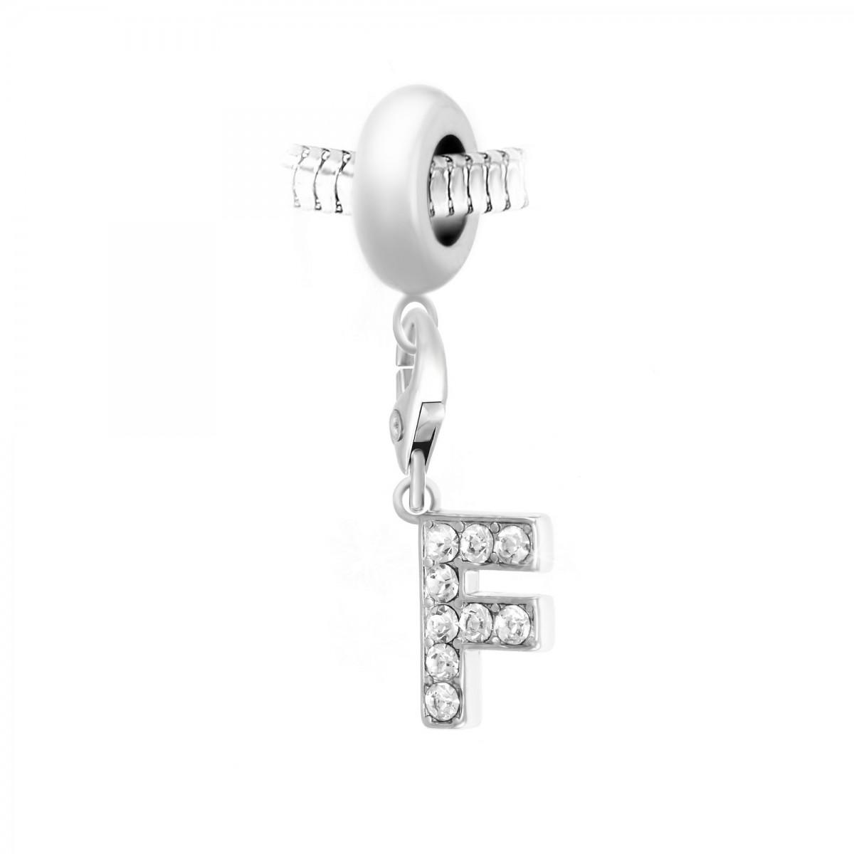 Charm perle So Charm en acier avec pendentif lettre F made with crystal from Swarovski