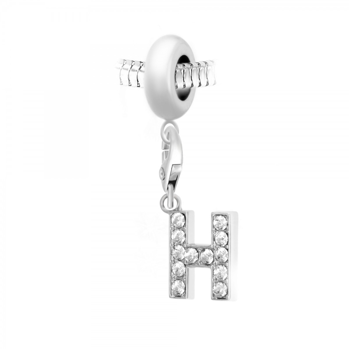 Charm perle So Charm en acier avec pendentif lettre H made with crystal from Swarovski