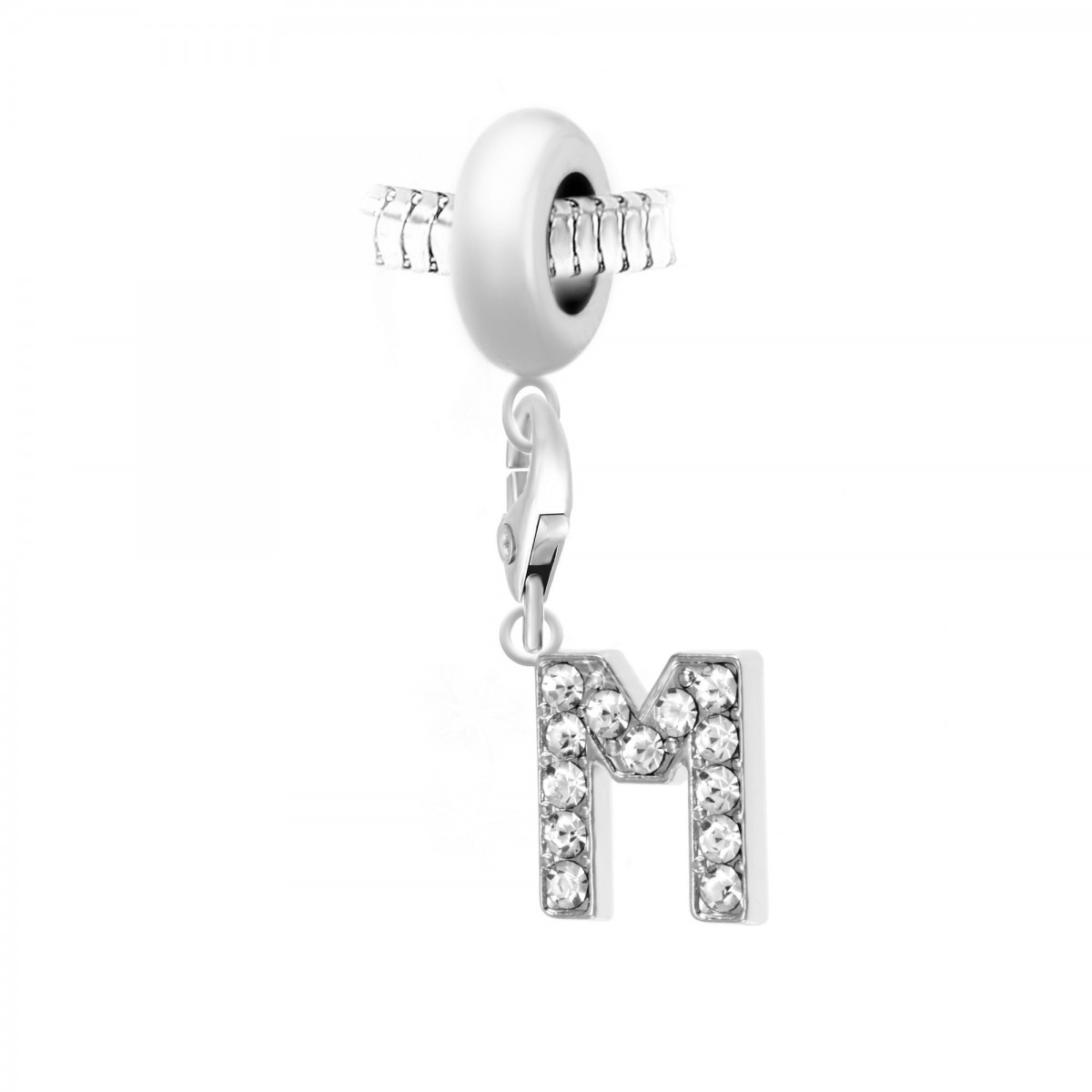 Charm perle So Charm en acier avec pendentif lettre M made with crystal from Swarovski