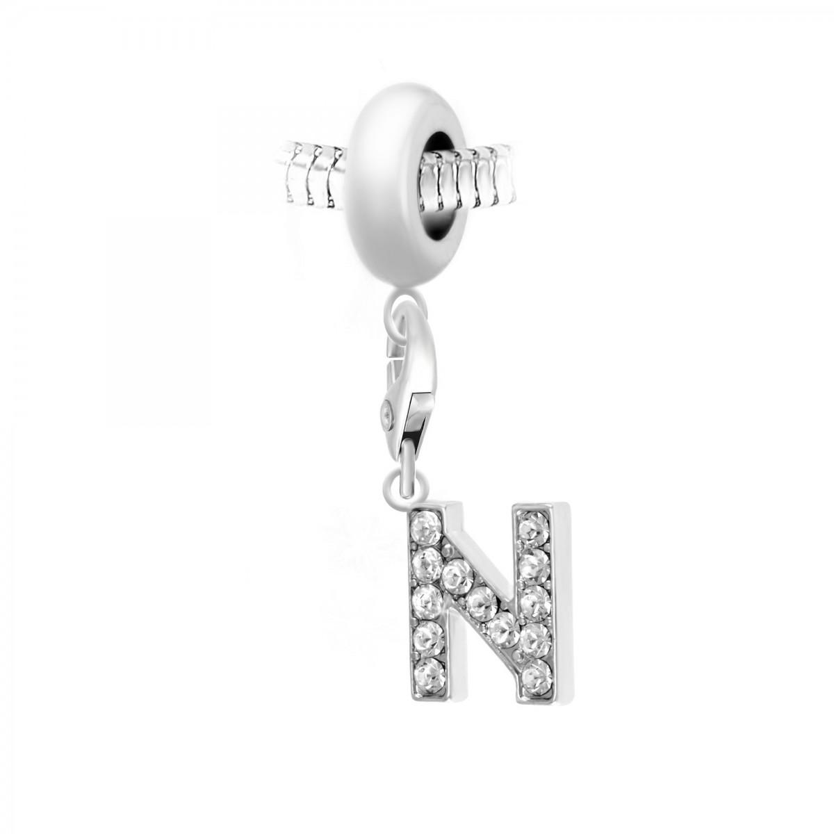 Charm perle So Charm en acier avec pendentif lettre N made with crystal from Swarovski