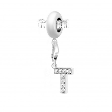 Charm perle So Charm en acier avec pendentif lettre T made with crystal from Swarovski