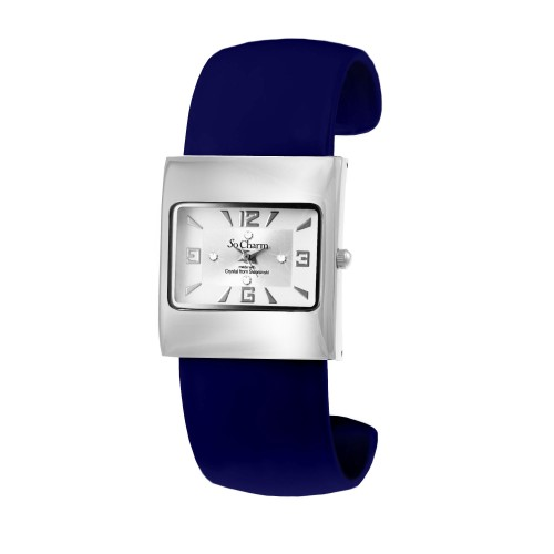 Montre mode bracelet cuir bleu made with crystal from Swarovski