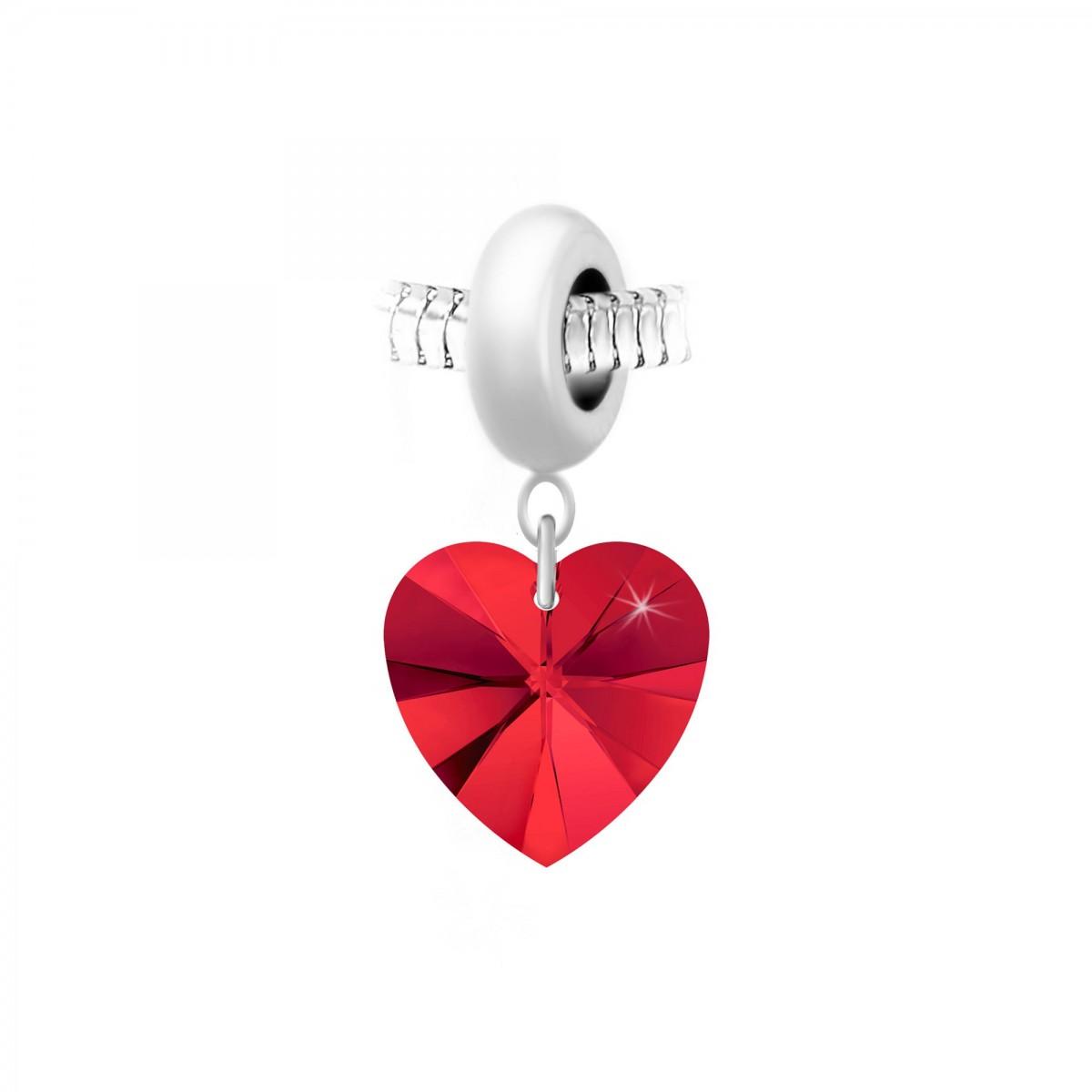 Charm perle So Charm en acier avec pendentif coeur made with Crystal from Swarovski