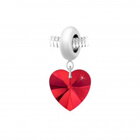 Charm perle So Charm en acier avec pendentif coeur made with Crystal from Swarovski