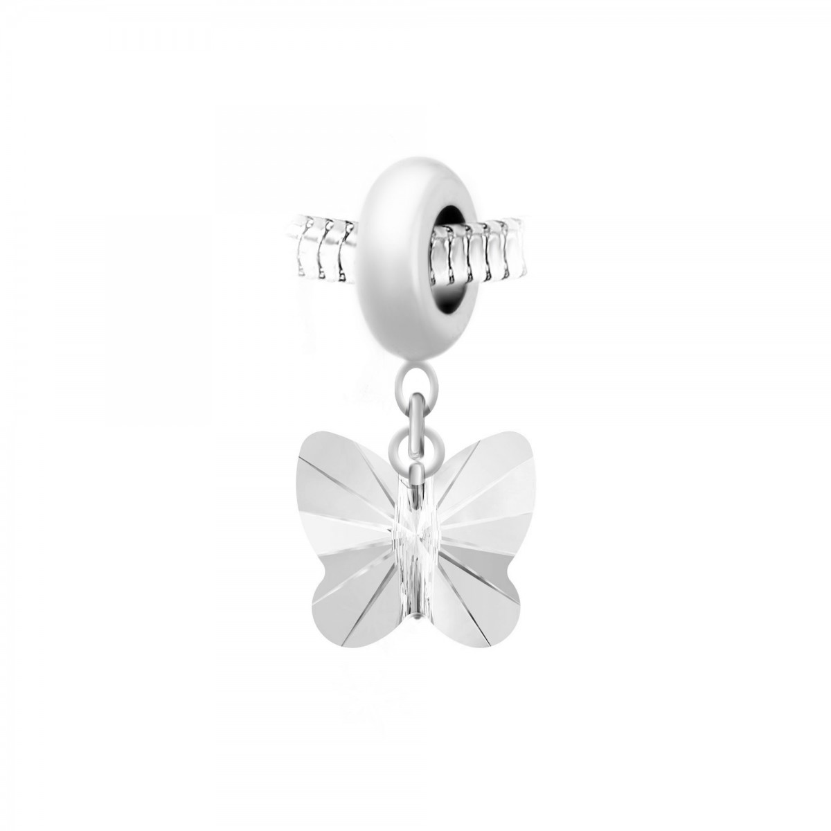 Charm perle So Charm en acier avec pendentif papillon made with Crystal from Swarovski