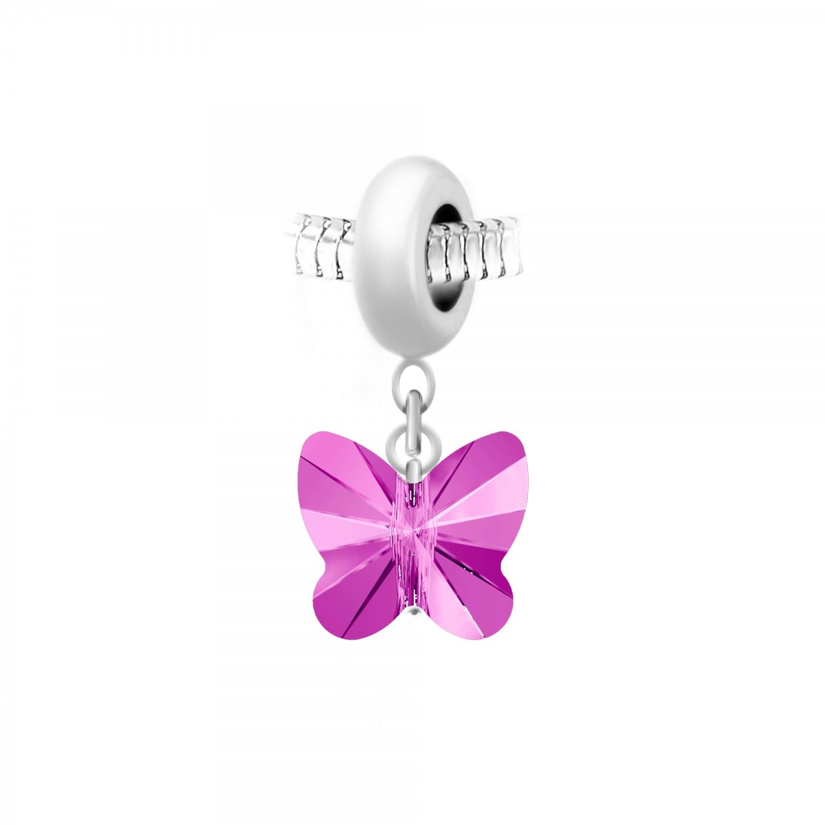 Charm perle So Charm en acier avec pendentif papillon made with Crystal from Swarovski