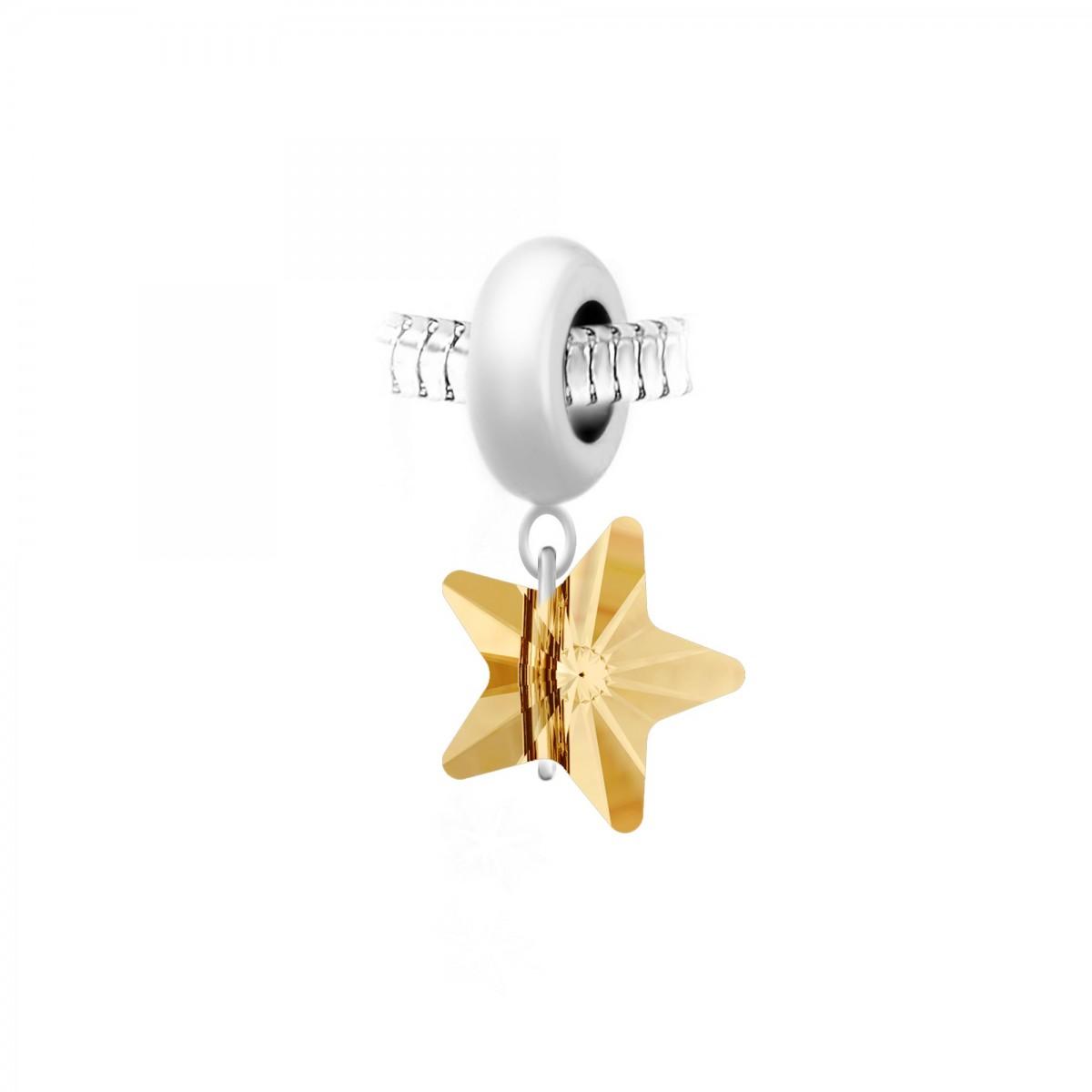 Charm perle So Charm en acier avec pendentif étoile made with Crystal from Swarovski