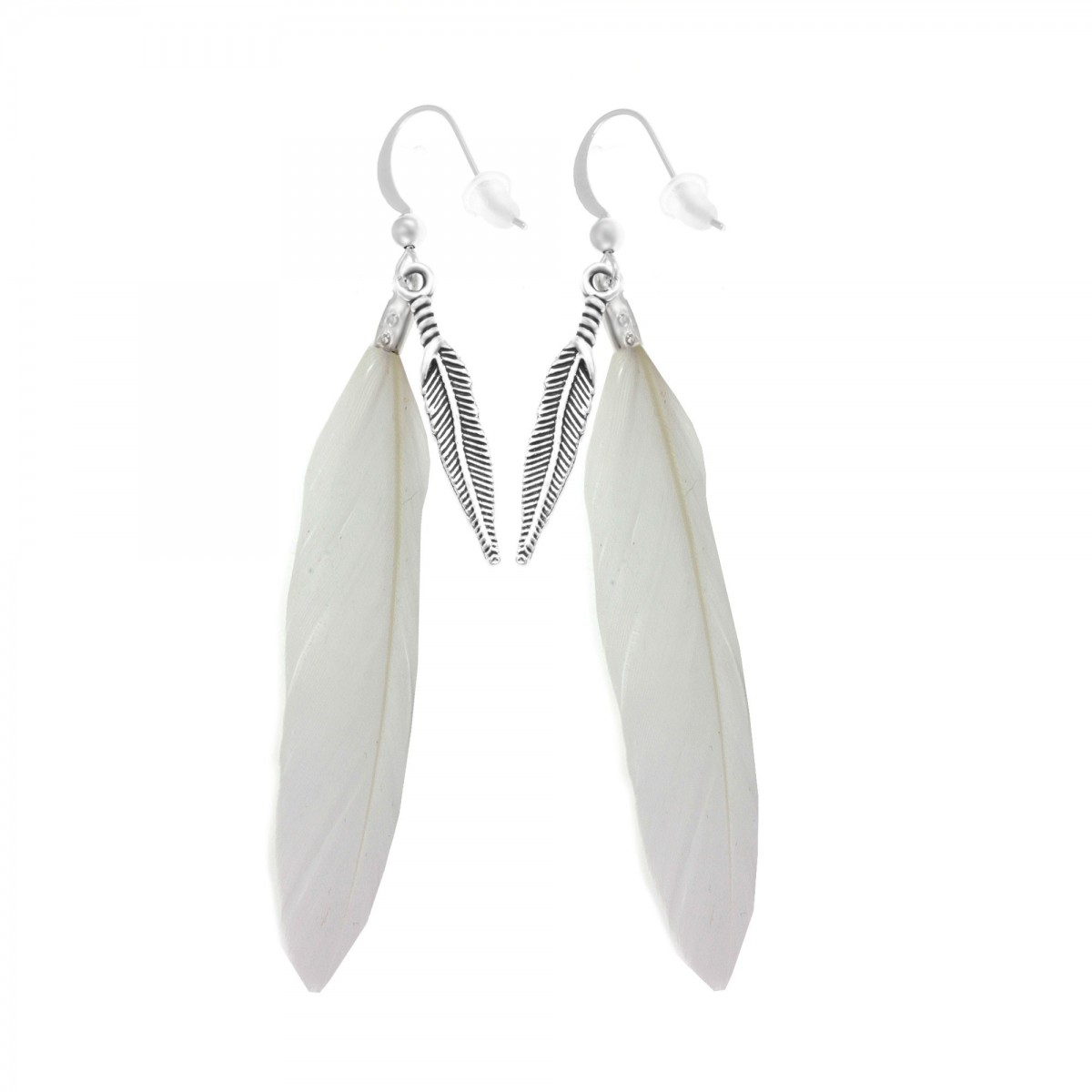 Boucles d'oreilles plumes blanches So Charm
