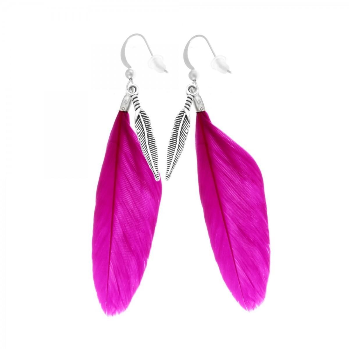 Boucles d'oreilles plumes roses So Charm