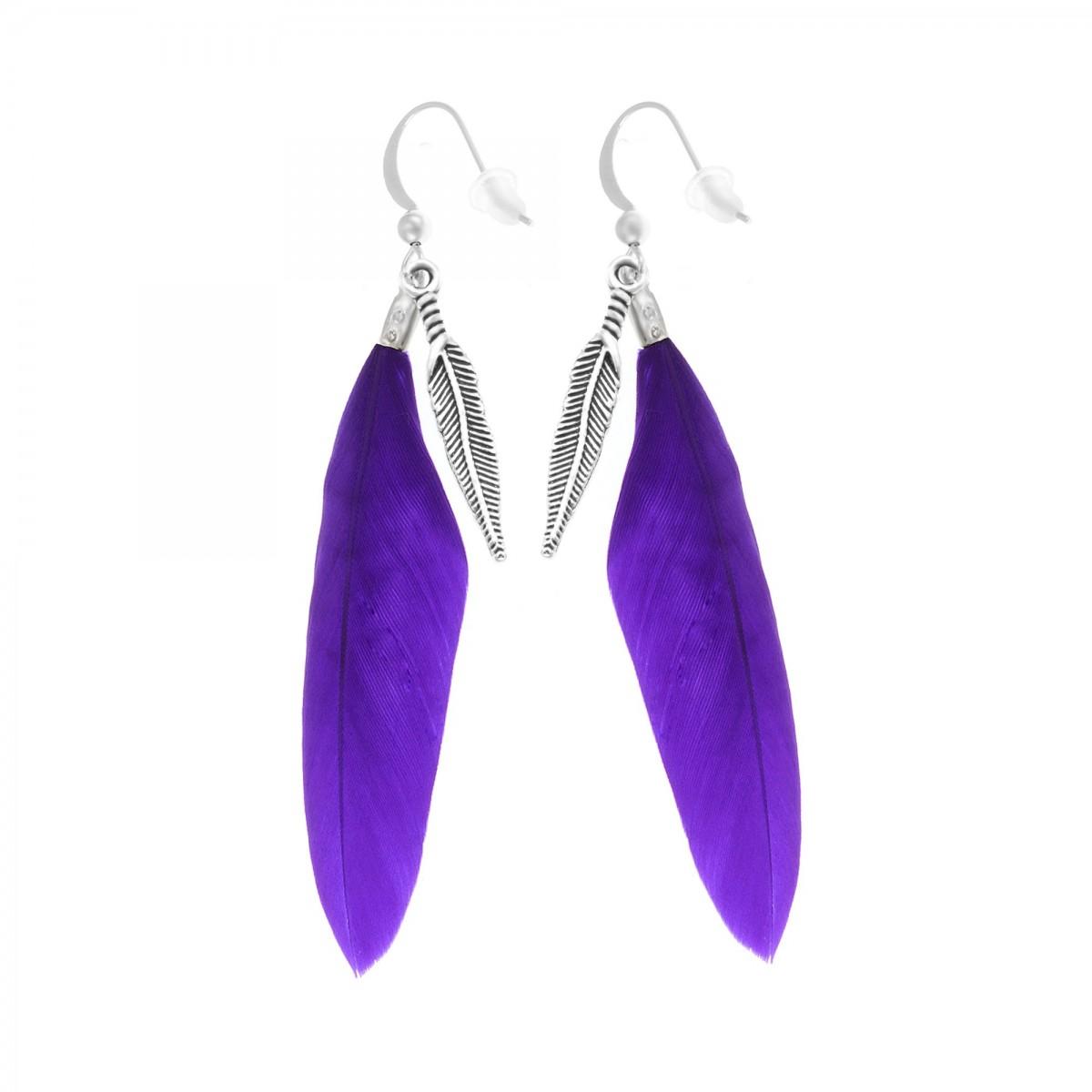 Boucles d'oreilles plumes violettes So Charm