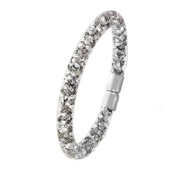 Bracelet argent tube strass...