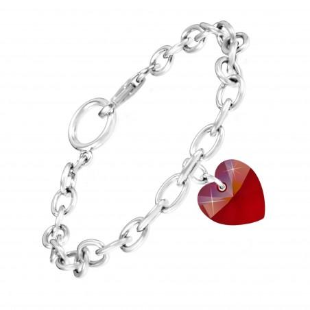 Bracelet argenté et coeur rouge made with Crystal from Swarovski rouge