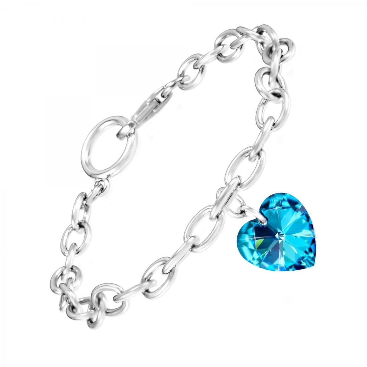 Bracelet argenté et coeur made with crystal from Swarovski bleu