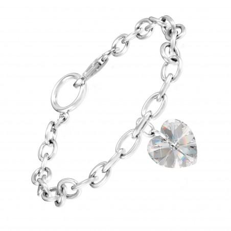 Bracelet argenté et coeur blanc made with crystal from Swarovski