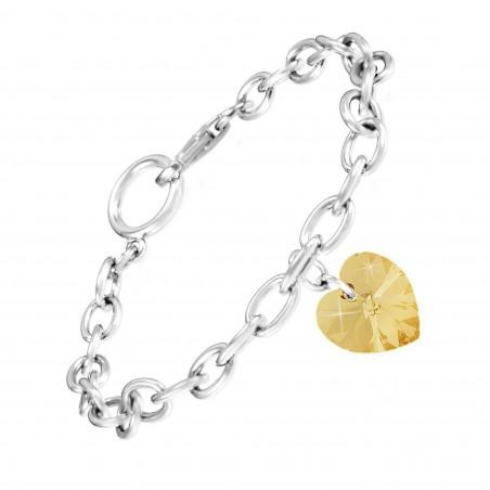 Bracelet argenté et coeur golden made with crystal from Swarovski