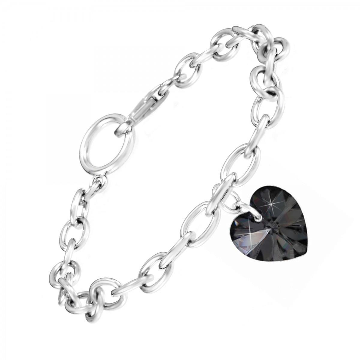 Bracelet argenté et coeur en cristal noir made with crystal from Swarovski