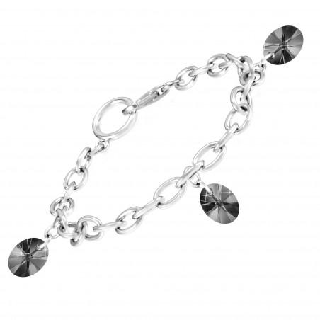Bracelet argenté So Charm made with Crystal from Swarovski noir