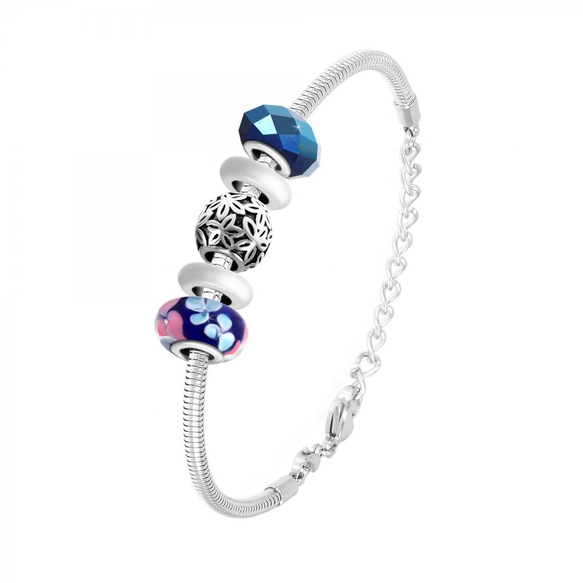 Bracelet de charms perles bleus et acier So Charm