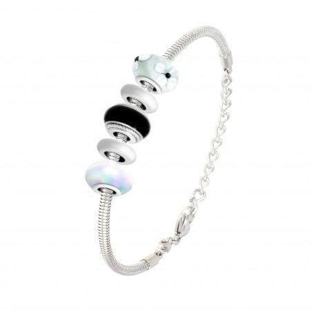 Bracelet de charms perles noirs et blancs et acier So Charm