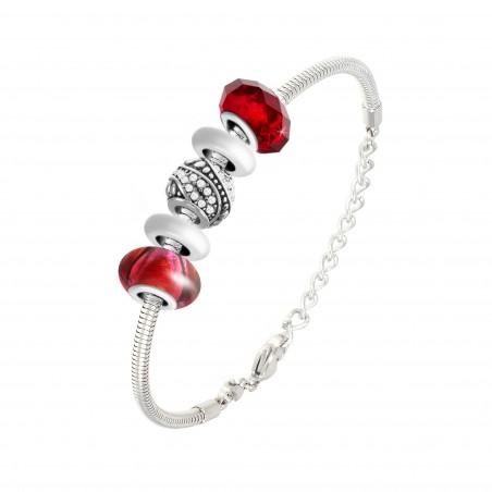 Bracelet de charms perles rouges et acier So Charm