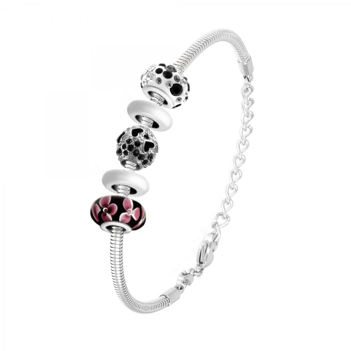 Bracelet de charms perles noirs et acier So Charm
